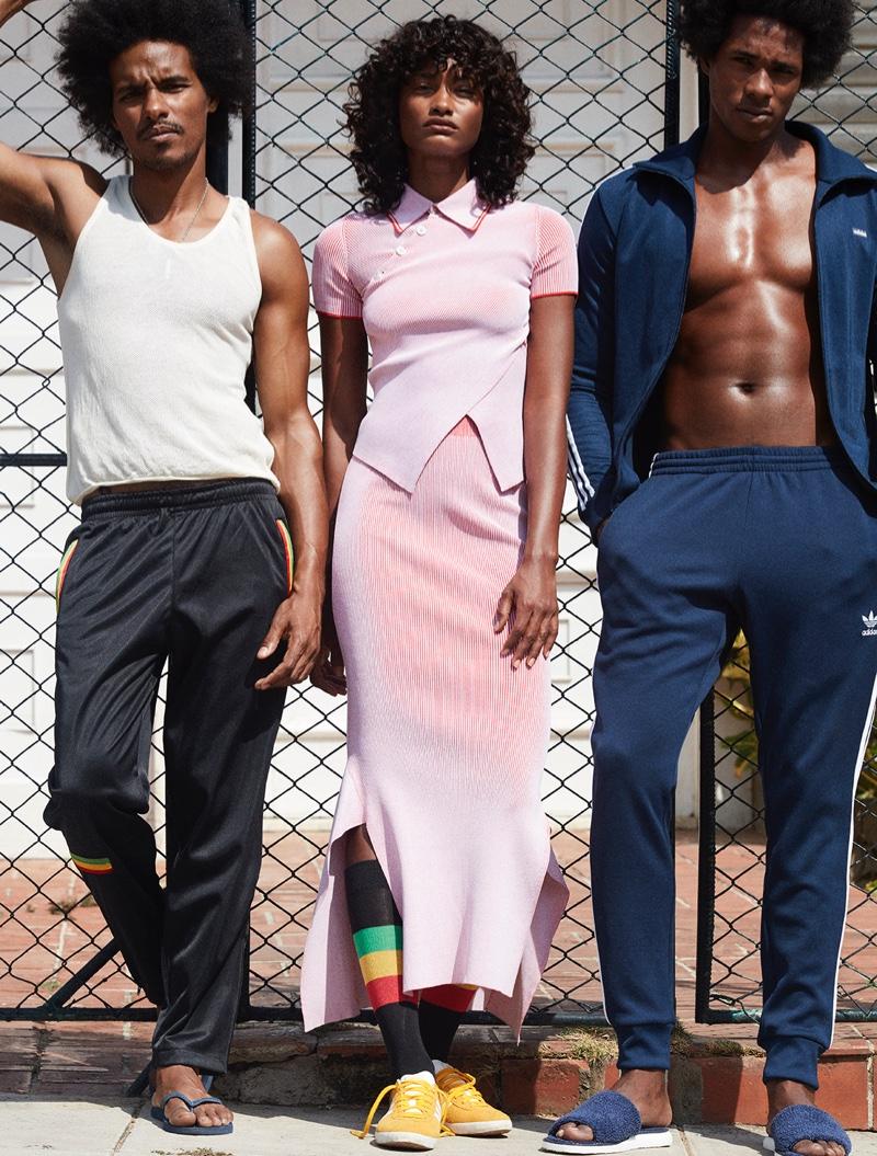 Melodie Monrose models pink Stella McCartney top and skirt