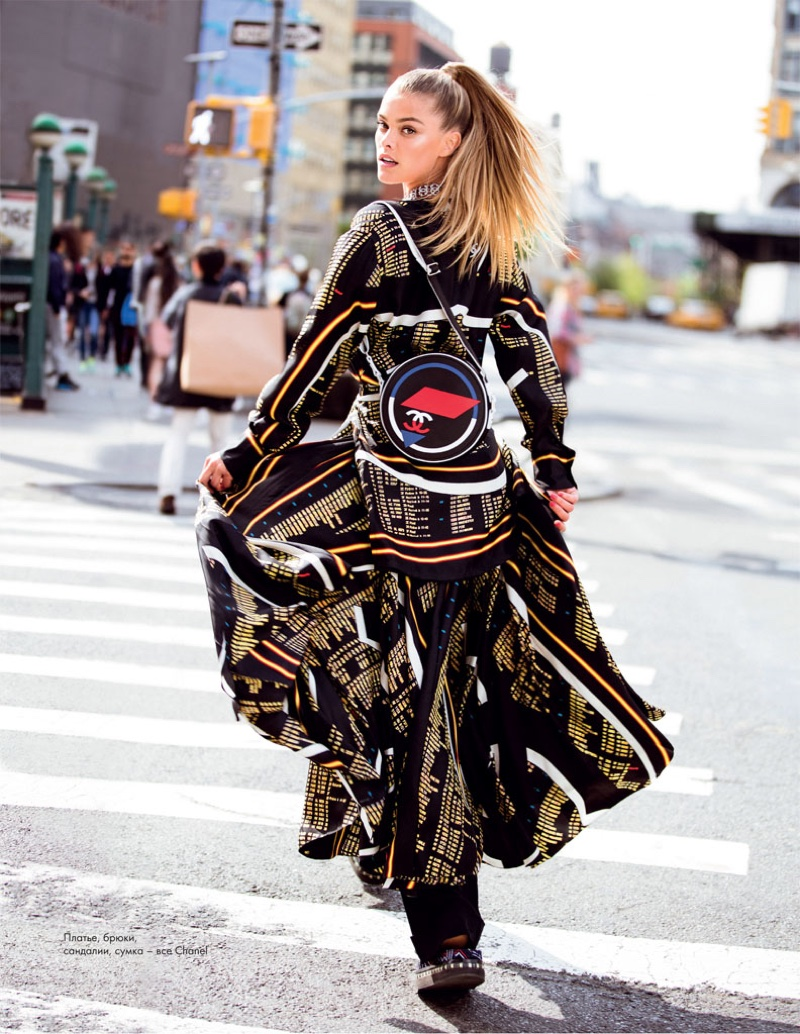 Nina Agdal wears Chanel dress with bag