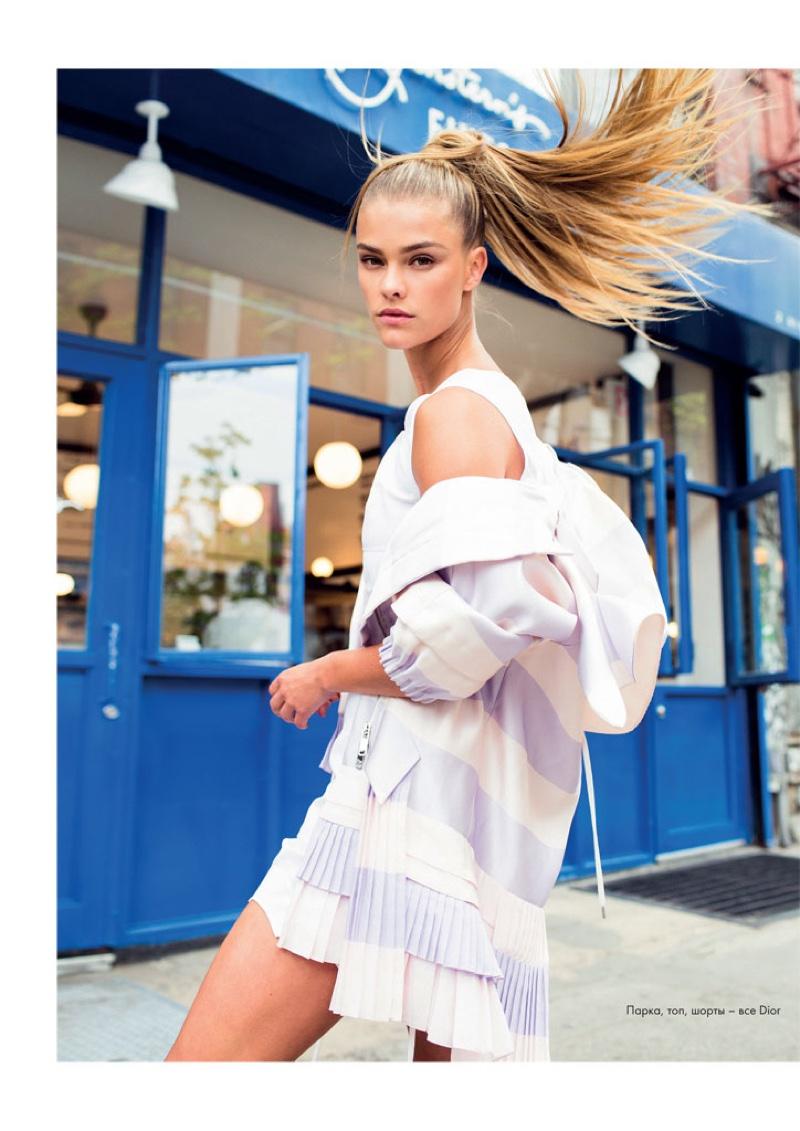 Nina Agdal wears Dior jacket with stripes
