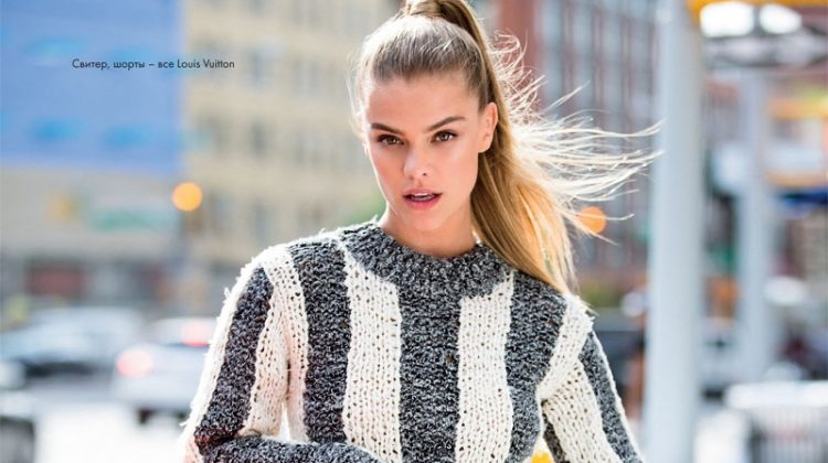 Nina Agdal Hits the Streets in Sporty Style for ELLE Kazakhstan