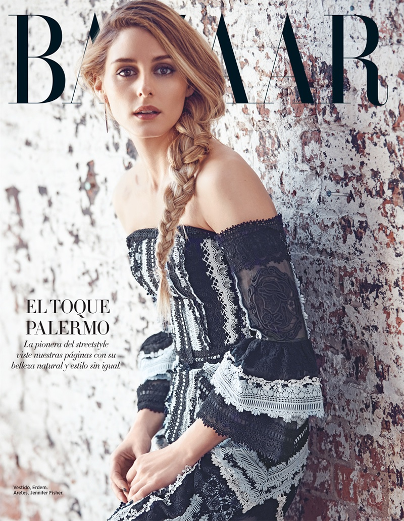 Olivia Palermo wears a braided ponytail in the fashion feature