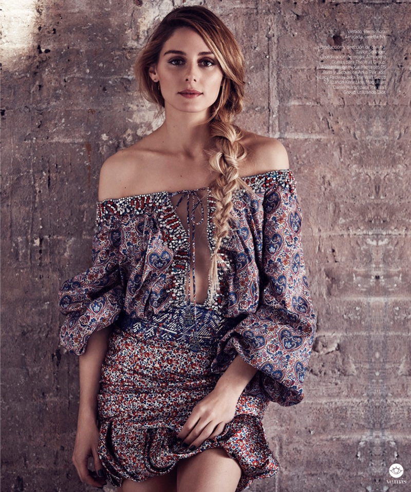 Olivia Palermo looks bohemian chic in a Reem Acra off-the-shoulder blouse and skirt