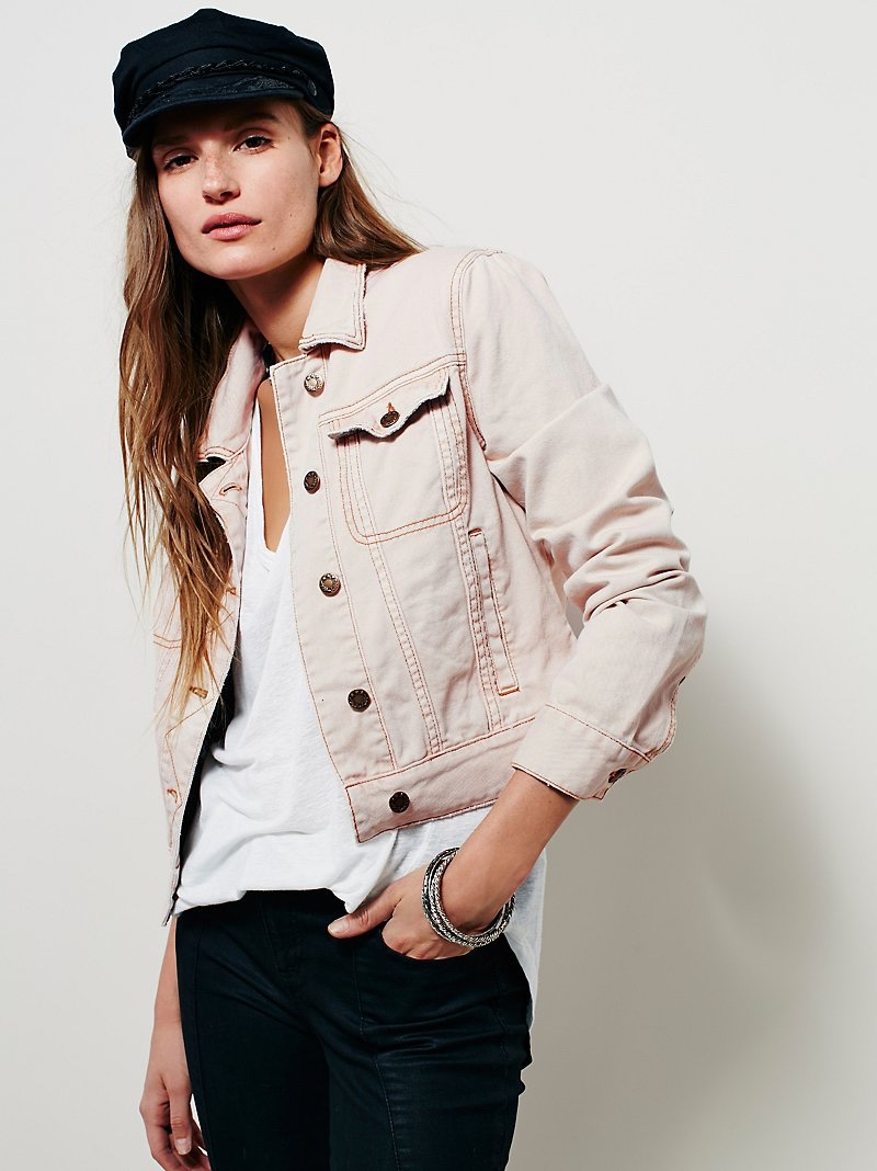 Free People Pink Fitted Denim Jacket