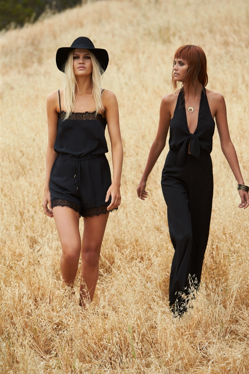 (Left) House of Harlow 1960 x REVOLVE Nora Lace Detail Romper (Right) House of Harlow 1960 x REVOLVE Coco Tie Front Jumpsuit