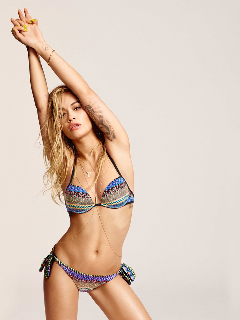 Rita Ora wears triangle bikini top and drawstring bottoms from Tezenis