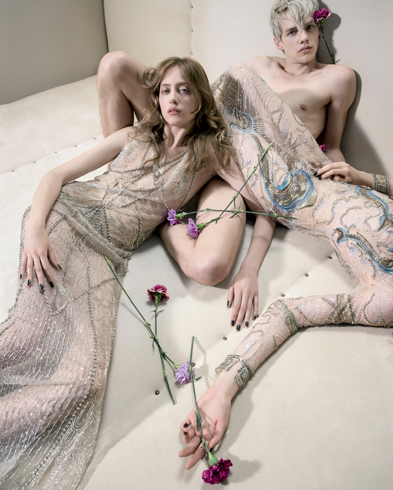 Models wear sheer styles in Roberto Cavalli's fall-winter 2016 campaign