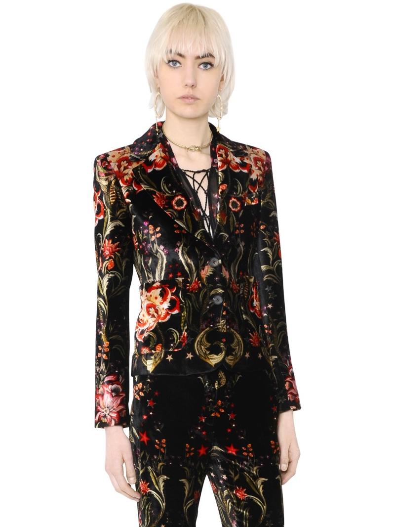 Roberto cavalli Galaxy Garden Printed Velvet Jacket