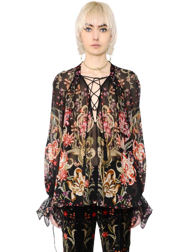 Roberto Cavalli Galaxy Garden Silk Georgette Shirt