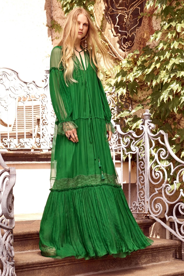 Roberto Cavalli Resort 2017: Green maxi dress with long sleeves and pleated detail