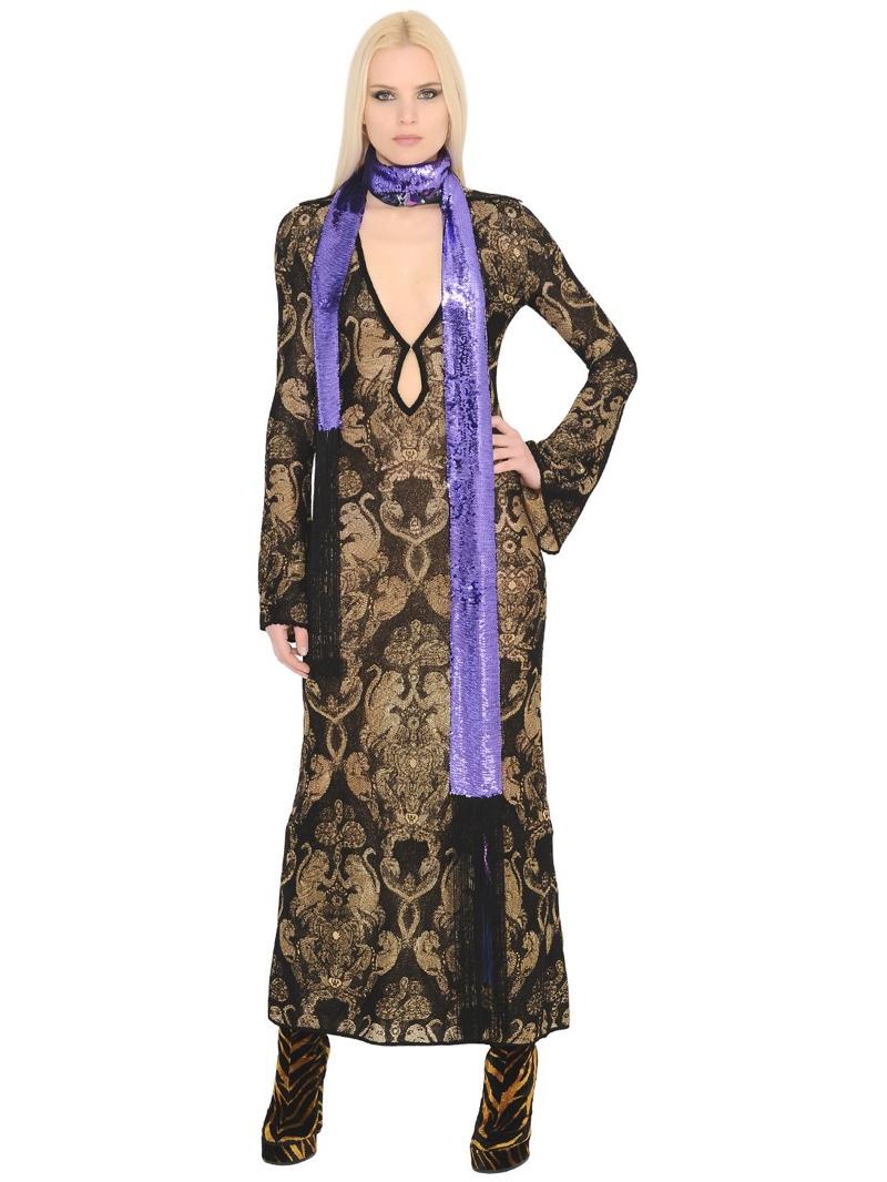 Roberto Cavalli Stretch Monkey Jacquard Dress