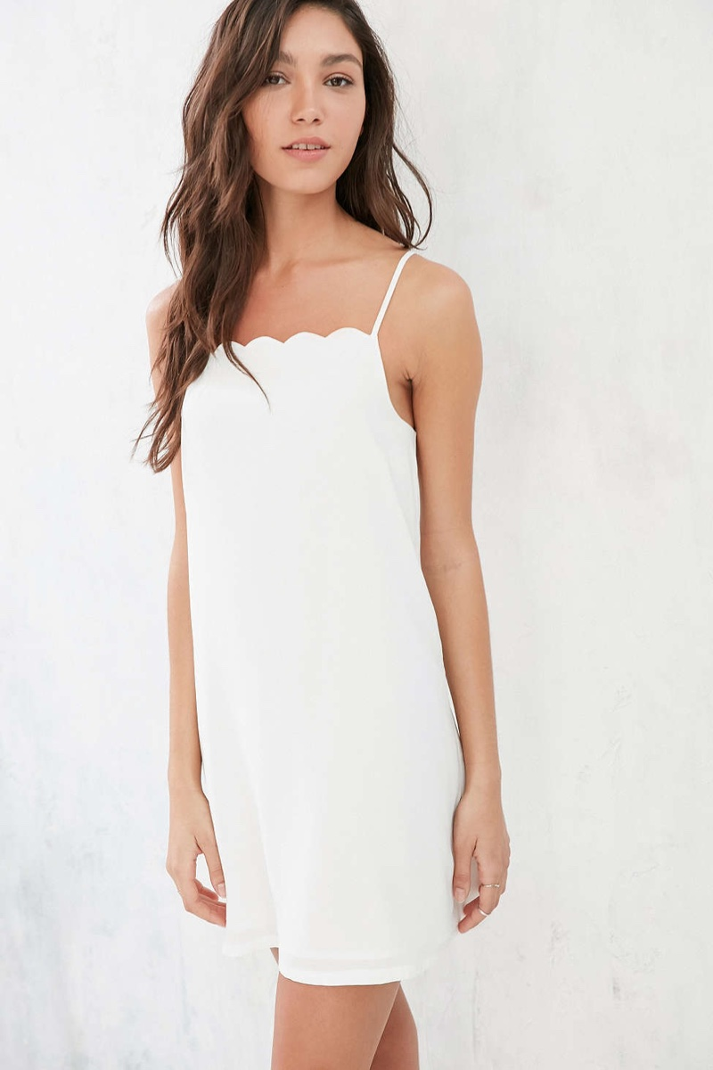 Glamorous Scalloped Neckline Mini Dress