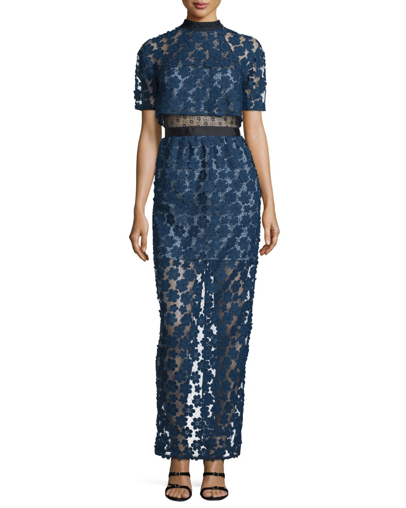Self Portrait Floral Embroidered Popover Maxi Dress