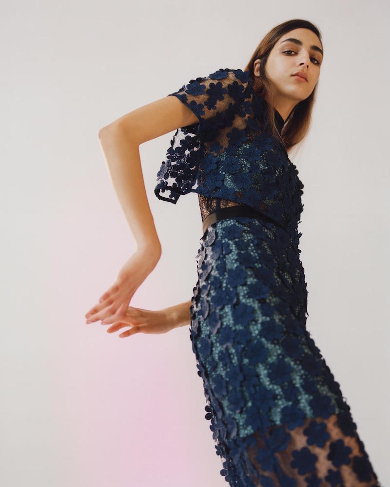 Self-Portrait's pre-fall 2016 campaign features floral embroidered popover maxi dress