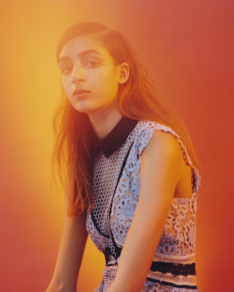 Self Portrait's pre-fall 2016 campaign features sleeveless paneled lace midi dress