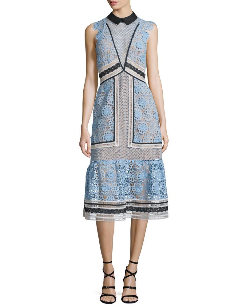 Self Portrait Sleeveless Paneled Lace Midi Dress