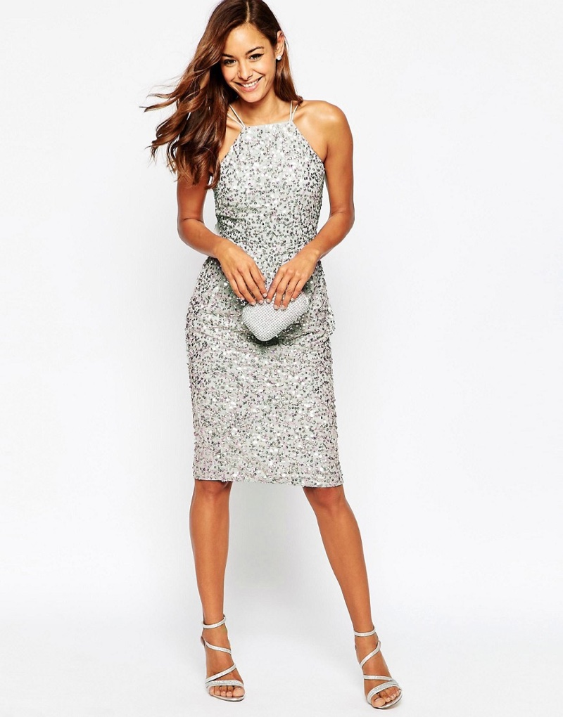 ASOS Silver Sequined Pencil Dress