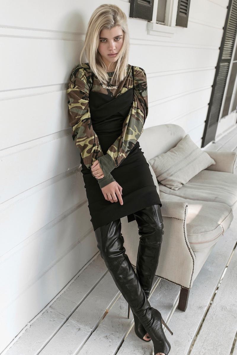 Sofia Richie wears Yeezy Season 2 top with camouflage detail