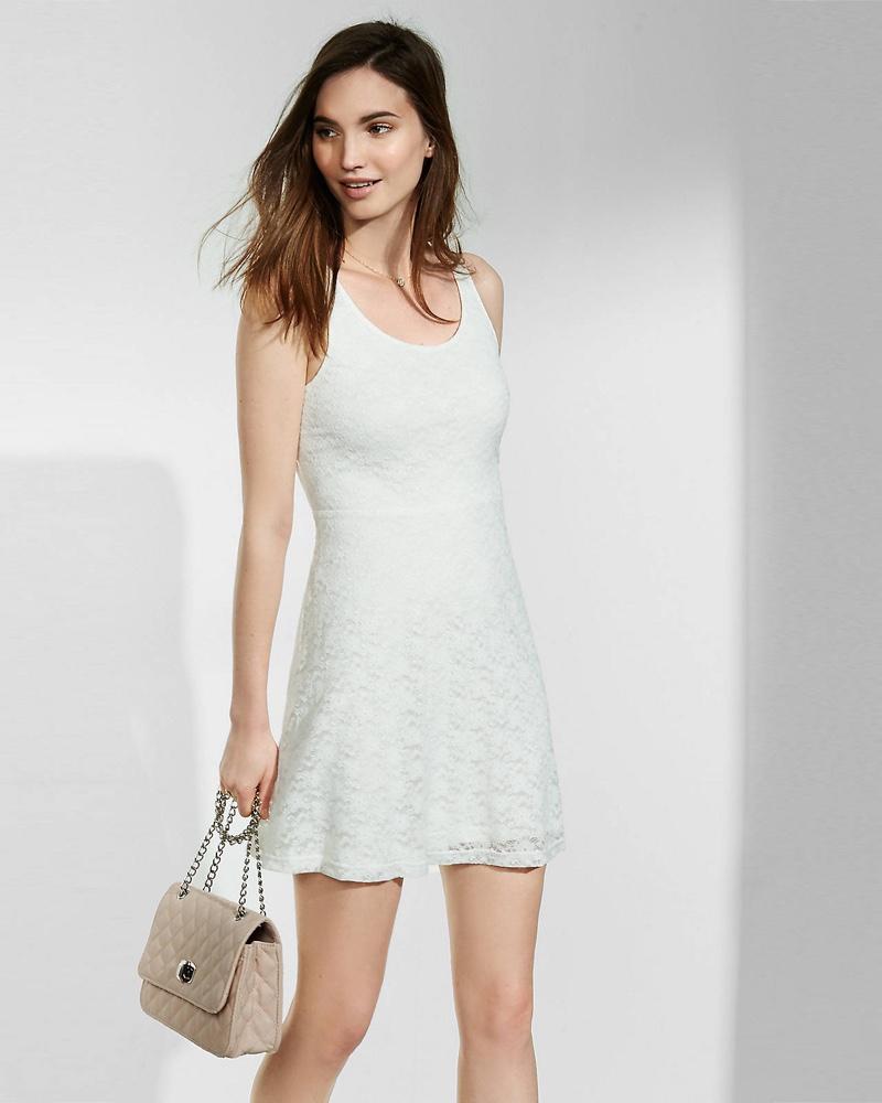 Express Soft Lace Fit & Flare Mini Dress