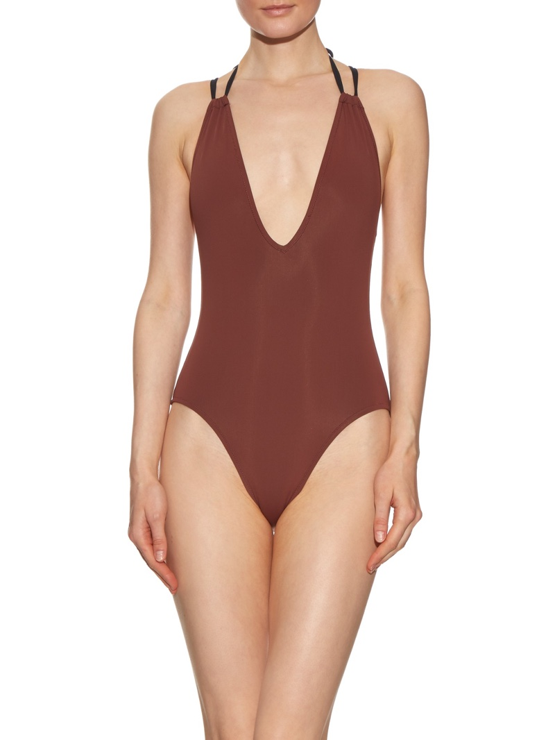 Solid & Striped The Alexandra V-Neck One-Piece Swimsuit in Burgundy Brown
