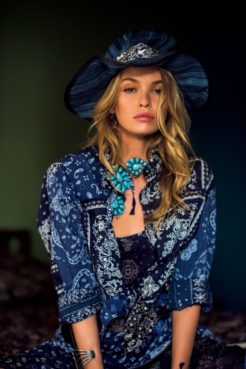 Stella Maxwell Embraces Bold Prints & Patterns for Vogue Japan