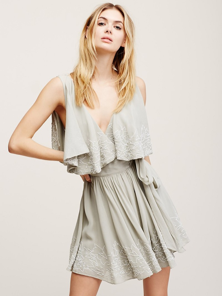 Free People Sylvia Embroidered Fit & Flare Mini Dress