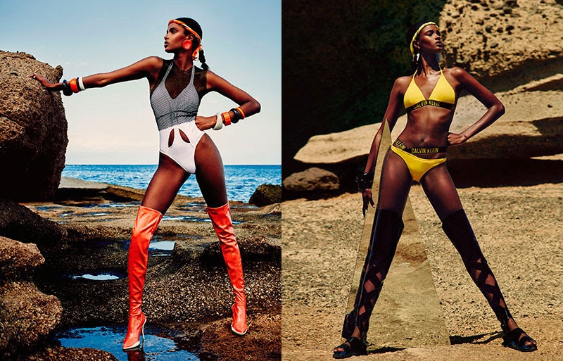 Thaina Oliveira models white one-piece swimsuit thigh-high boots (left) and Calvin Klein swimsuit (right)