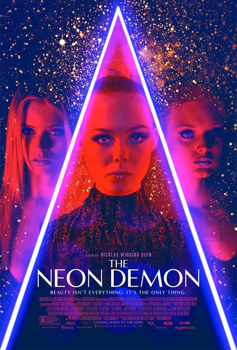 The Neon Demon poster with Bella Heathcote, Elle Fanning and Abbey Lee Kershaw