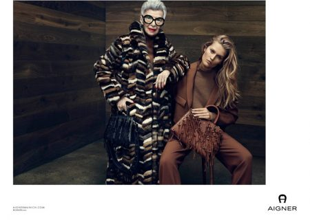 Iris Apfel and Toni Garrn star in Aigner's fall-winter 2016 campaign