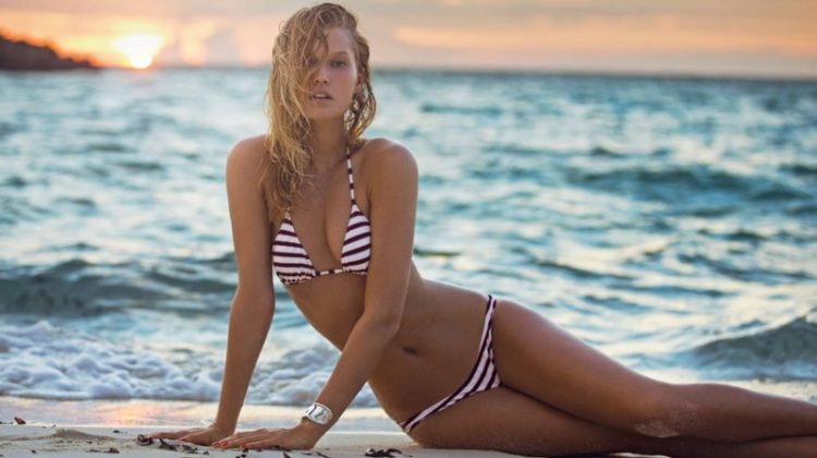 Toni Garrn Hits the Water for Swimsuit Season in ELLE France
