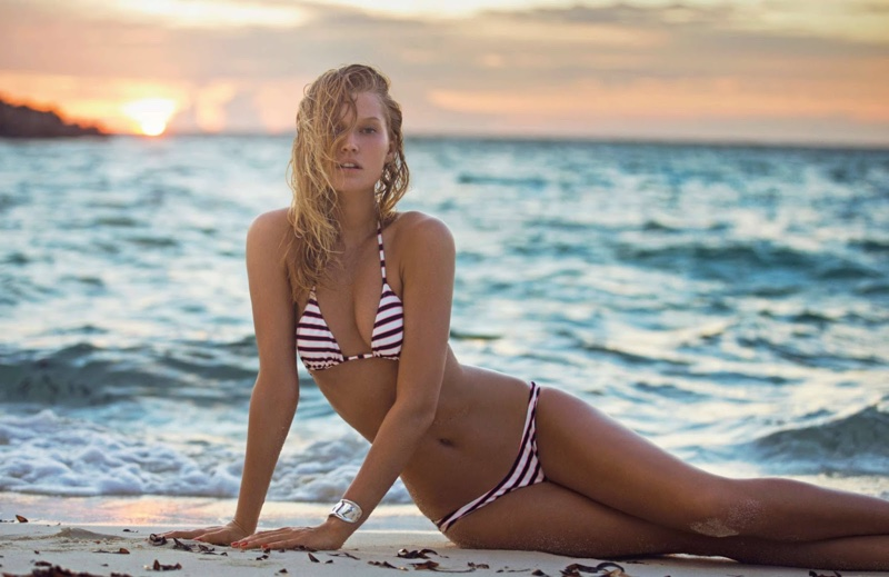 Toni Garrn looks nautical in striped bikini from Mango
