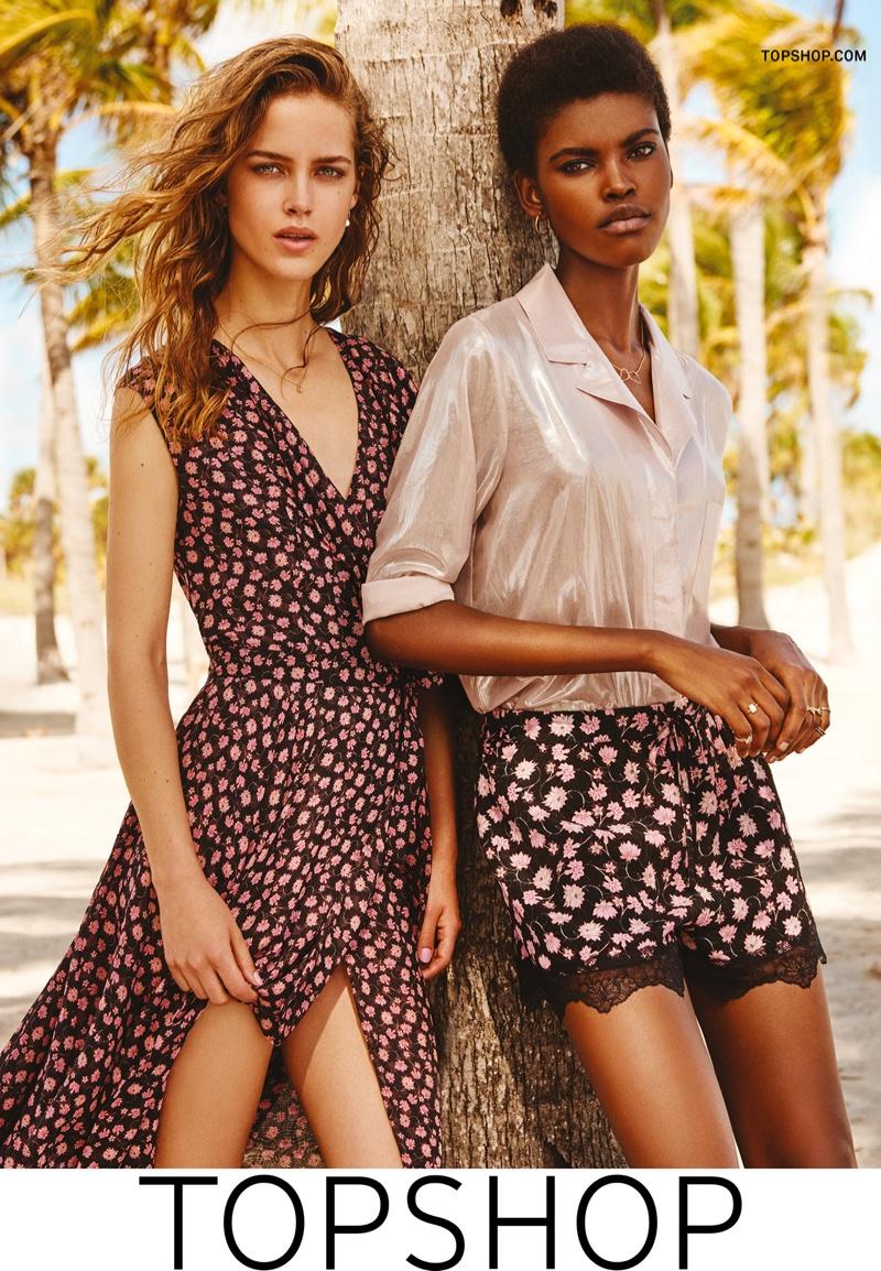 Julia Jamin and Amilna Estevao wear floral prints in Topshop's high summer 2016 campaign