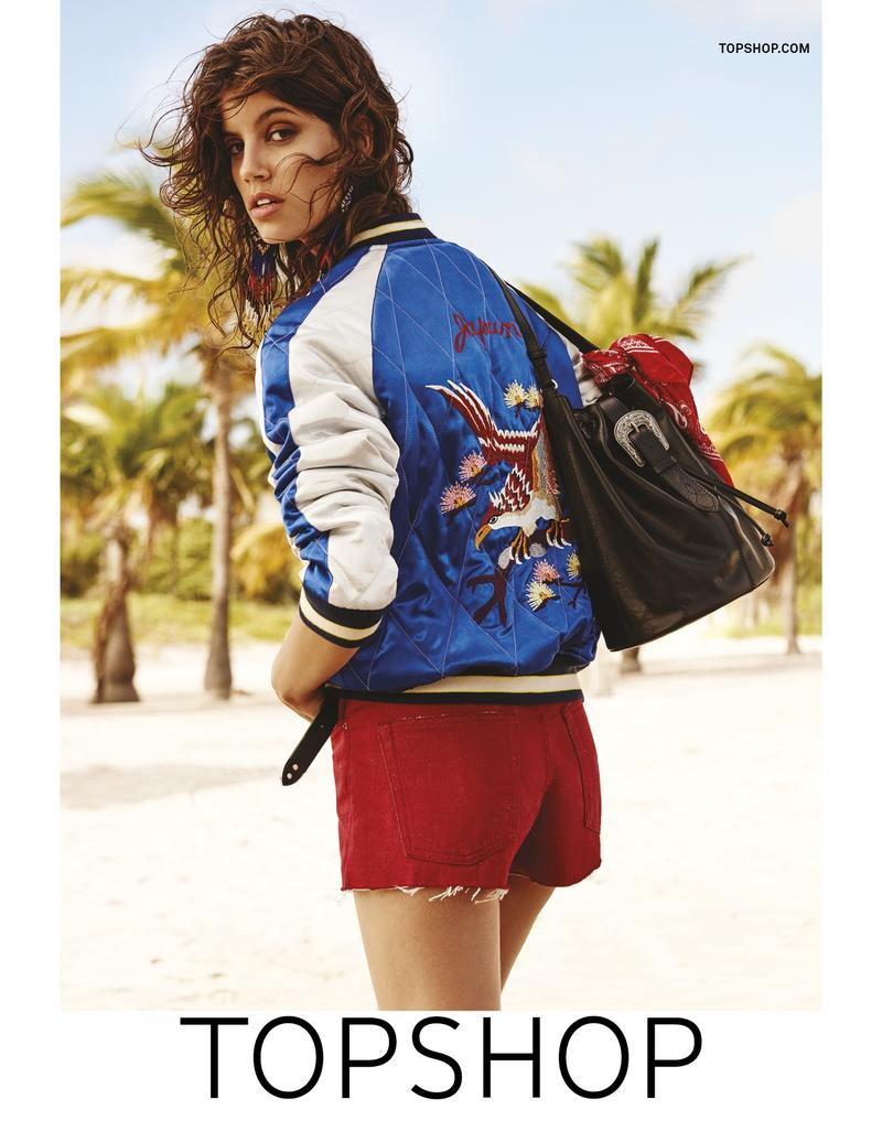 Antonina Petkovic wears a bomber jacket and red denim shorts in Topshop's high summer 2016 campaign
