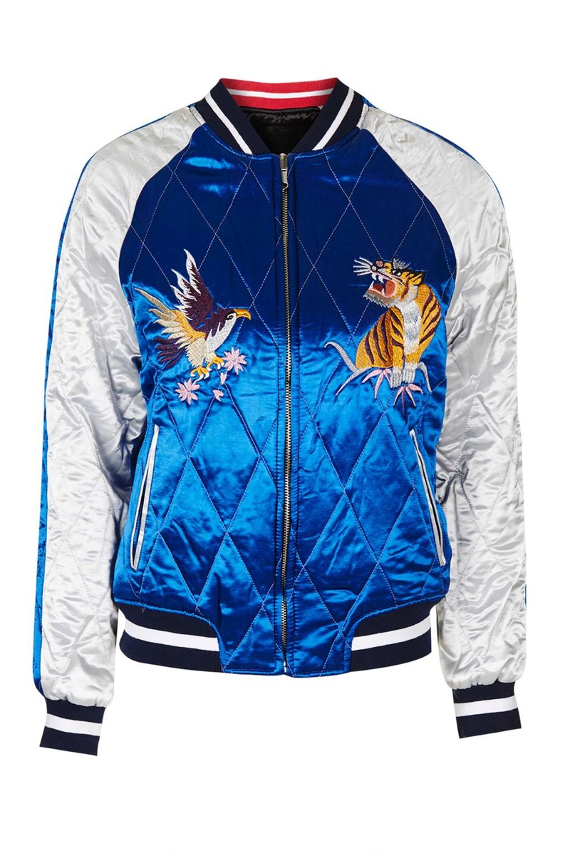 Topshop Two in One Reversible Sateen Bomber Jacket