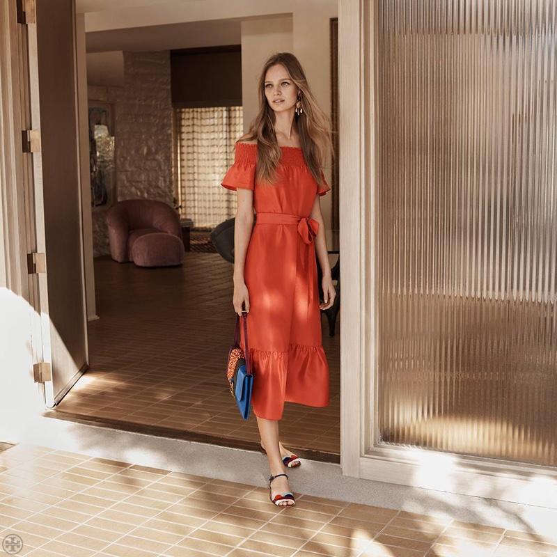 25547efd98ce Tory Burch Ramona Maxi Dress and Miro Flat Sandal