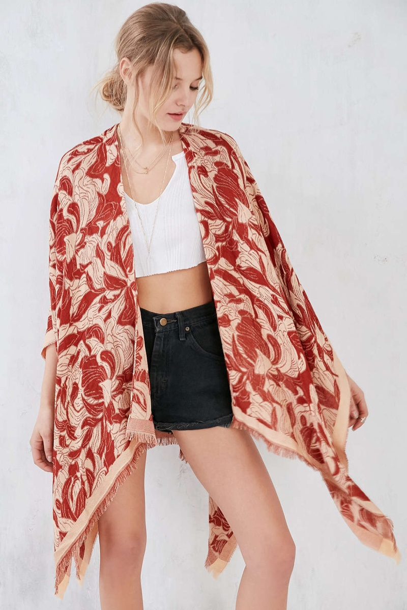 Urban Outfitters Blurred Floral Poncho