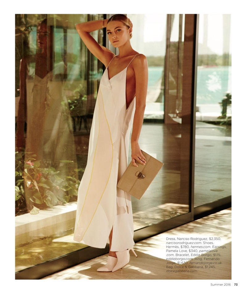 Valentina Zelyaeva wears Narciso Rodriguez slip dress with Hermes heels