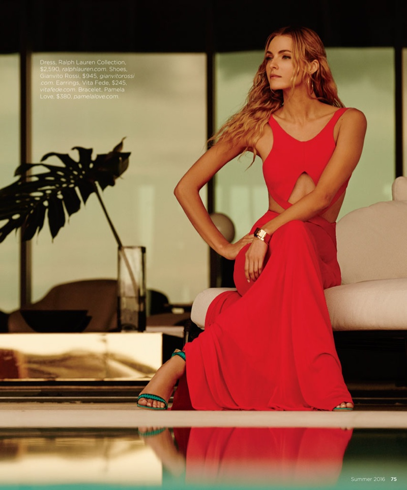 The blonde model wears red Ralph Lauren Collection dress with cutouts and Gianvito Rossi heels