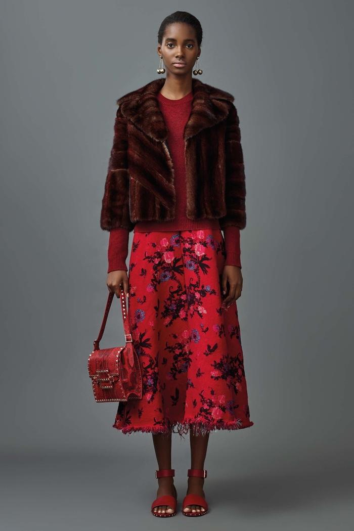 Valentino Resort 2017: Fur coat, knit sweater and floral print midi skirt