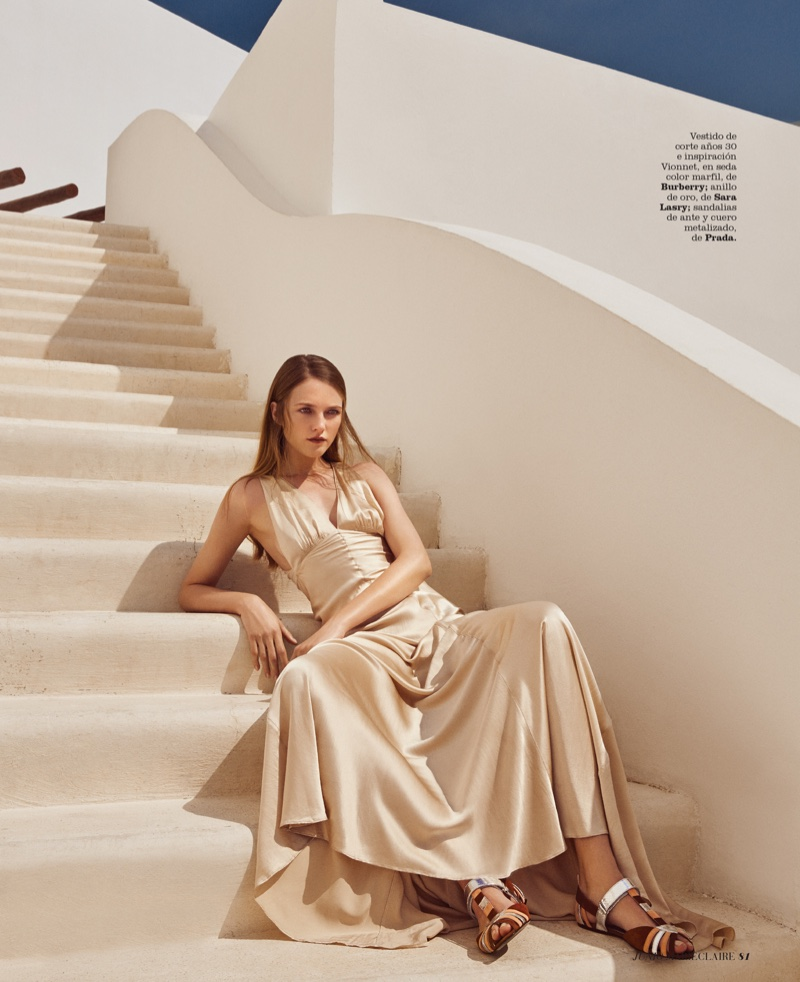 Vlada Roslyakova wears bias cut dress from Burberry with Prada sandals