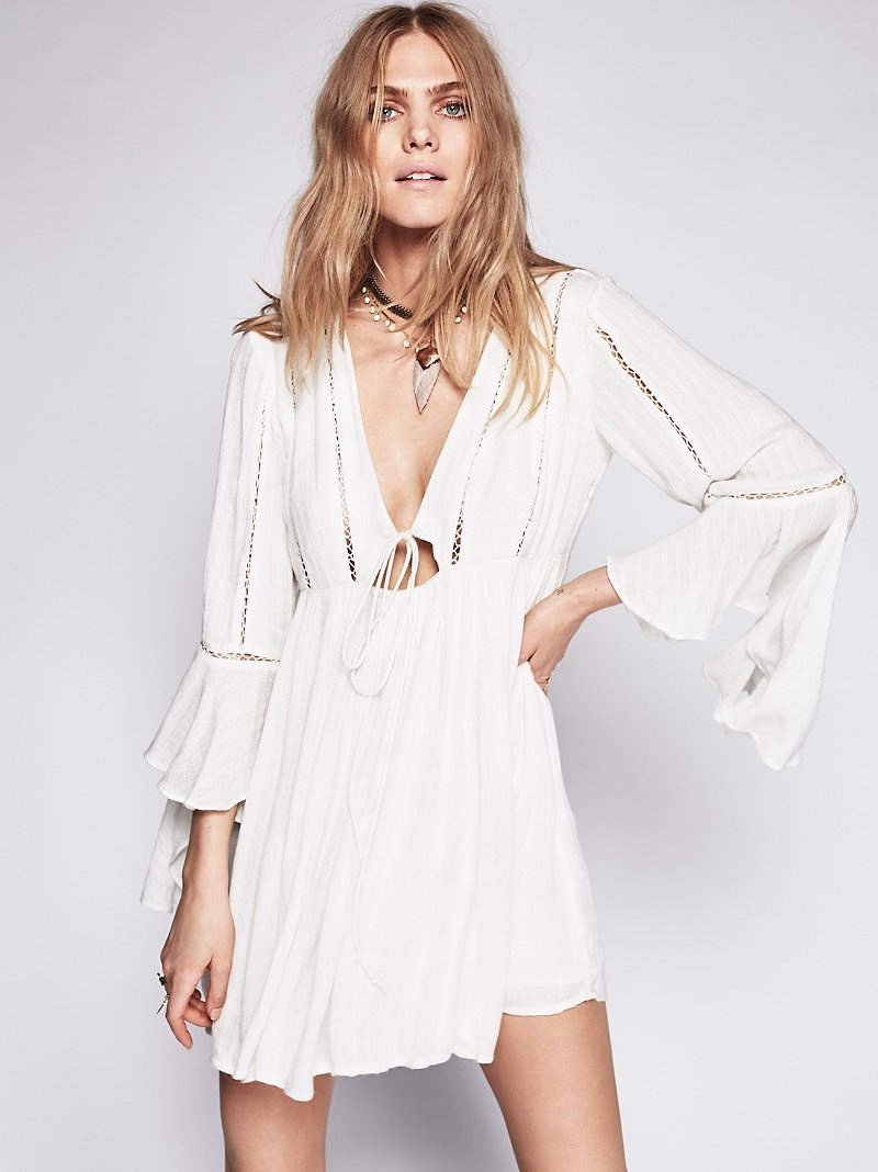 Free People Romeo White Long Sleeve Mini Dress