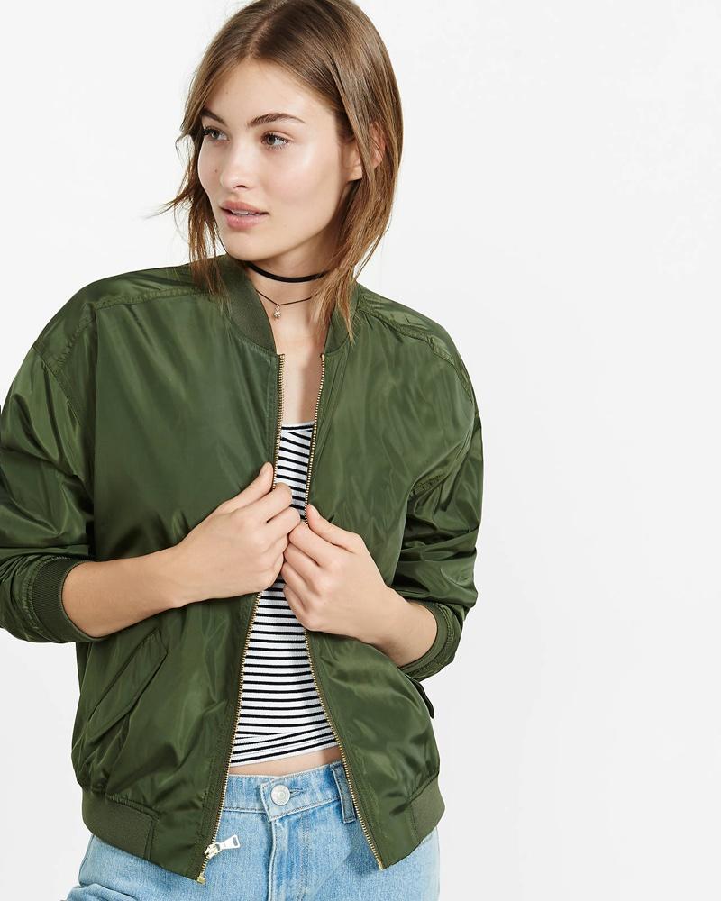Express Olive Green Bomber Jacket