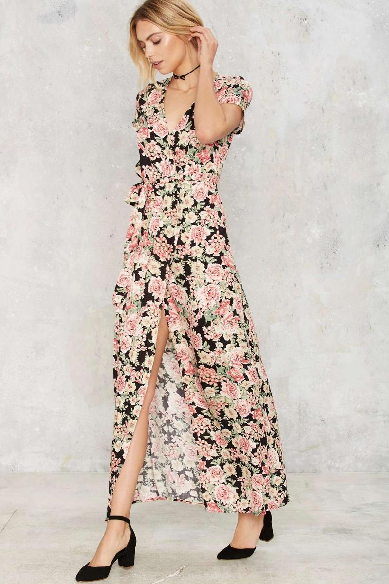 Nasty Gal Wrapped Closet Floral Maxi Dress