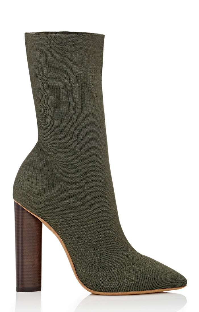 Yeezy Block Heel Boots in Olive
