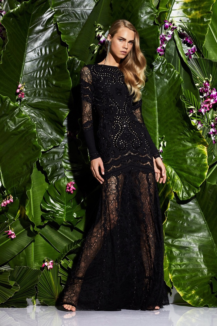 Zuhair Murad Resort 2017 Collection: black embroidered gown with sheer skirt and sleeves