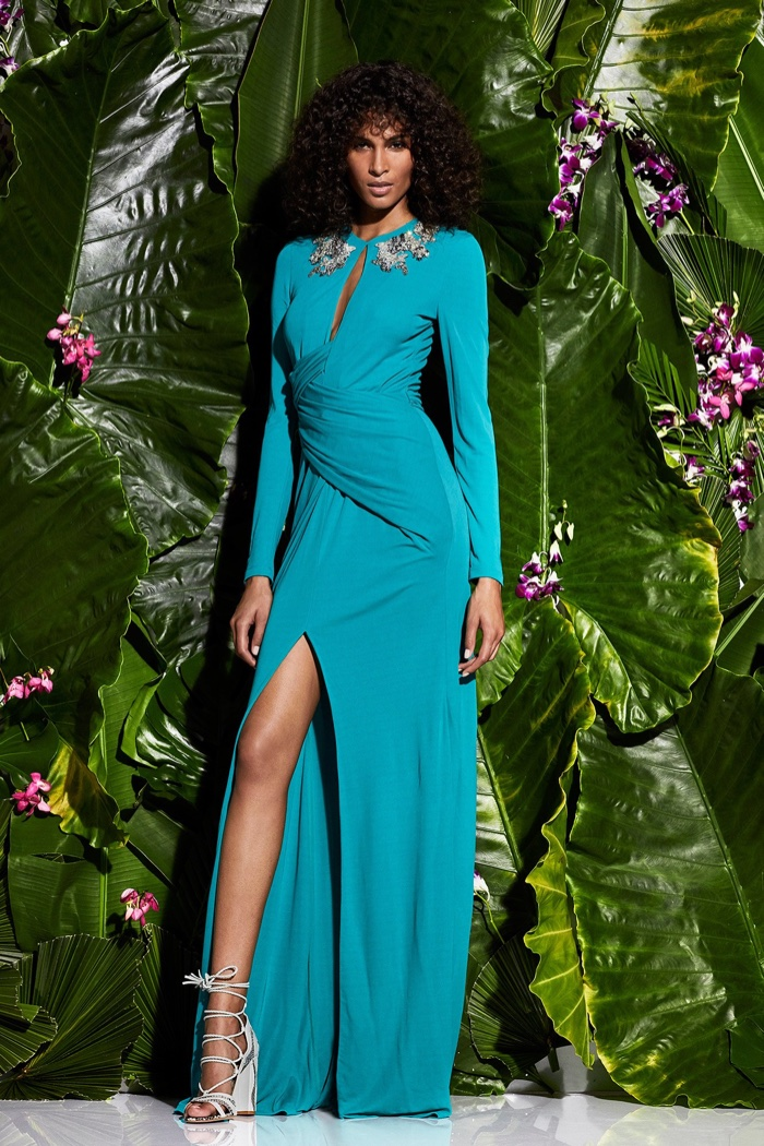 Zuhair Murad Resort 2017 Collection: turquoise long-sleeve gown with embellished neckline and high slit
