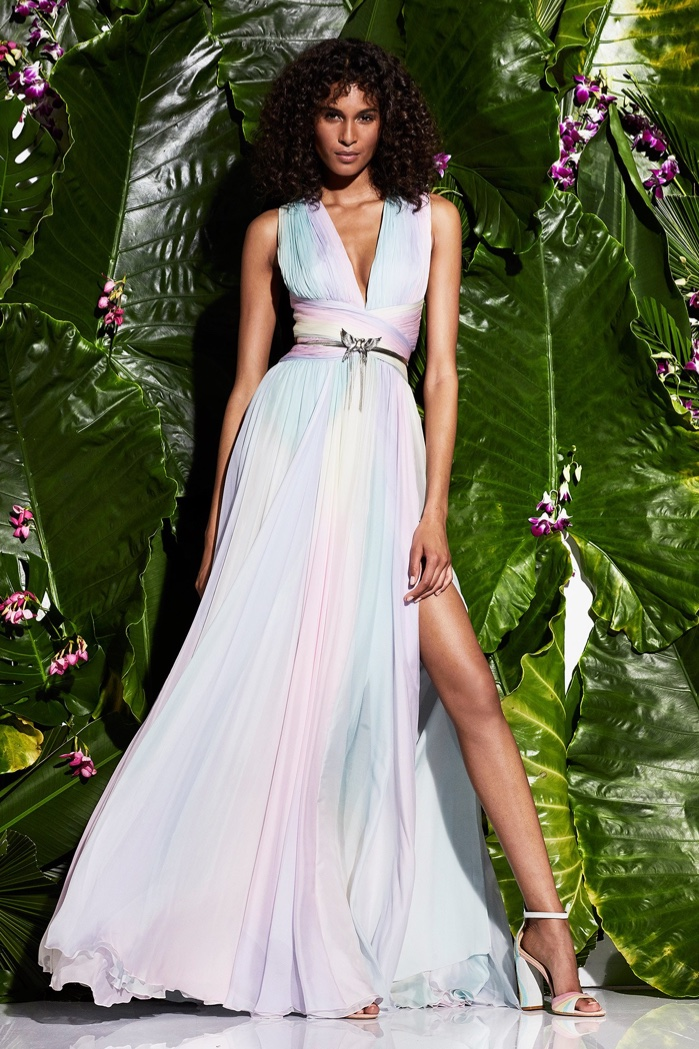 Zuhair Murad Resort 2017 Collection: sleeveless multi-colored gown with pleating