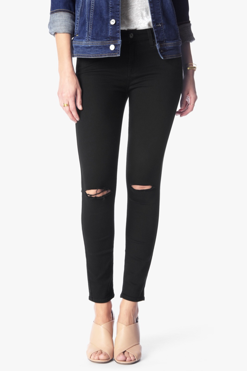 7 for All Mankind B(air) Denim Ankle Skinny with Knee Slits in Black