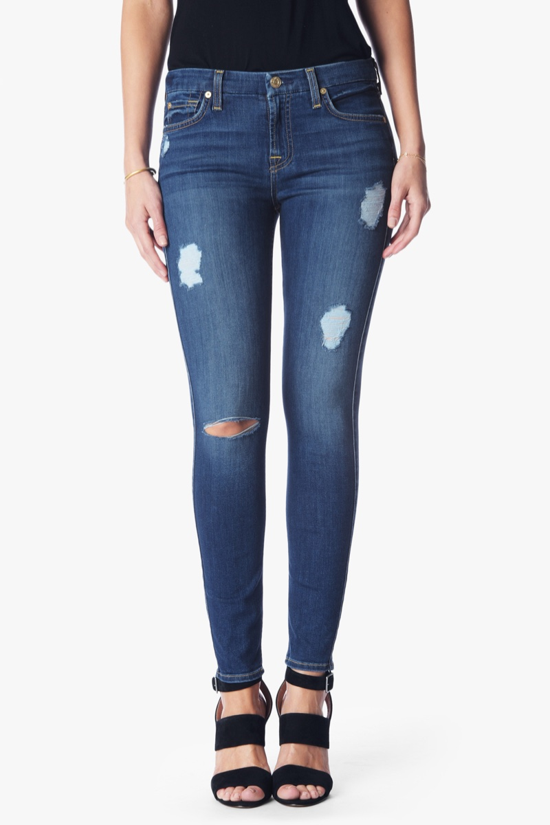 7 for All Mankind B(air) Denim Skinny with Destroy in Reign