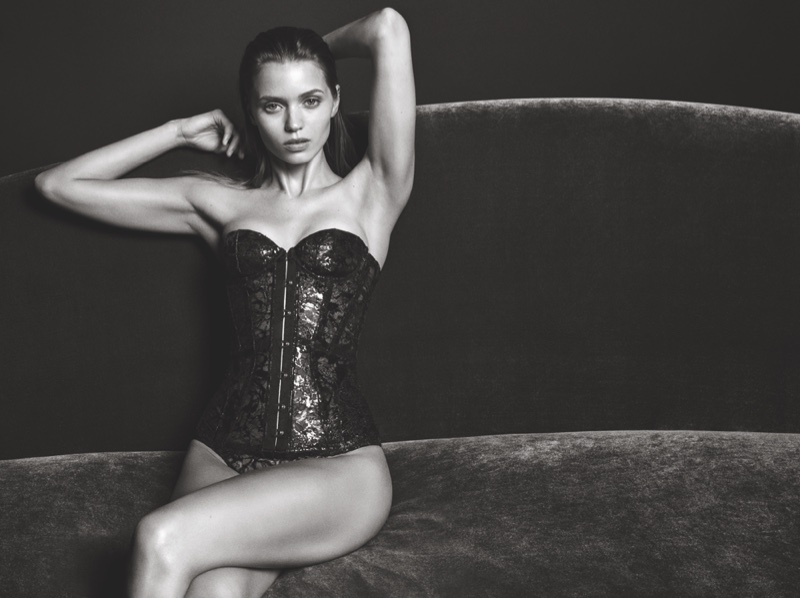 Abbey Lee Kershaw wears corset in Agent Provocateur fall-winter 2016 campaign