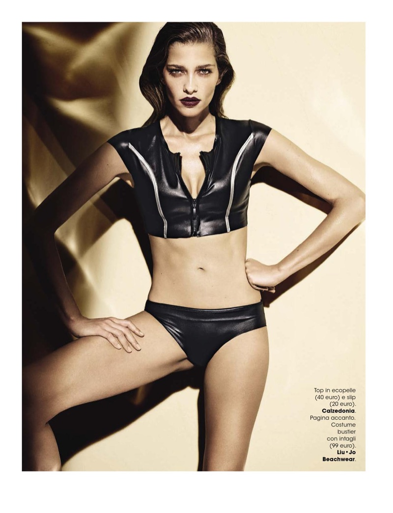 Ana Beatriz Barros wears faux leather swim top and bottoms from Calzedonia